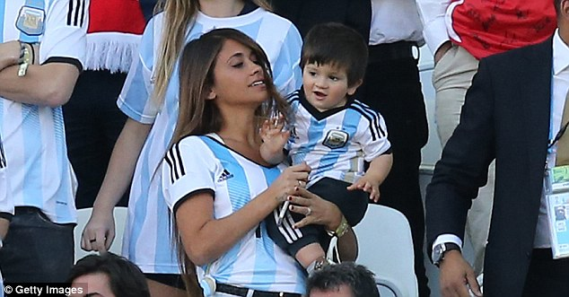 Loyal: Antonella and Thiago have been cheering on Messi throughout the tournament