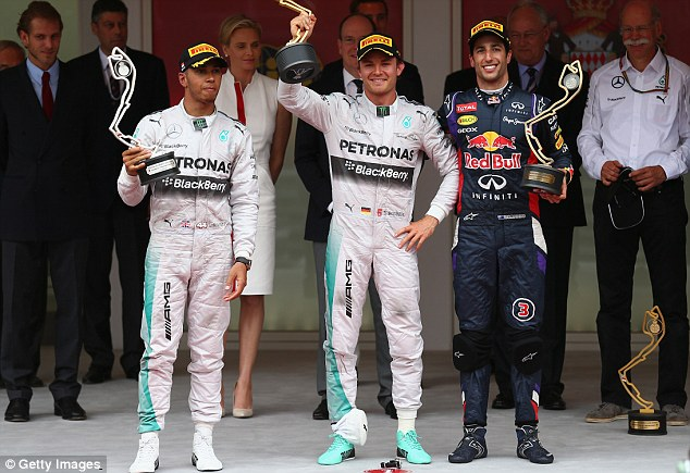 Controversial: Lewis Hamilton lost out to teammate Nico Rosberg (C) under contentious circumstances at the Monaco Grand Prix