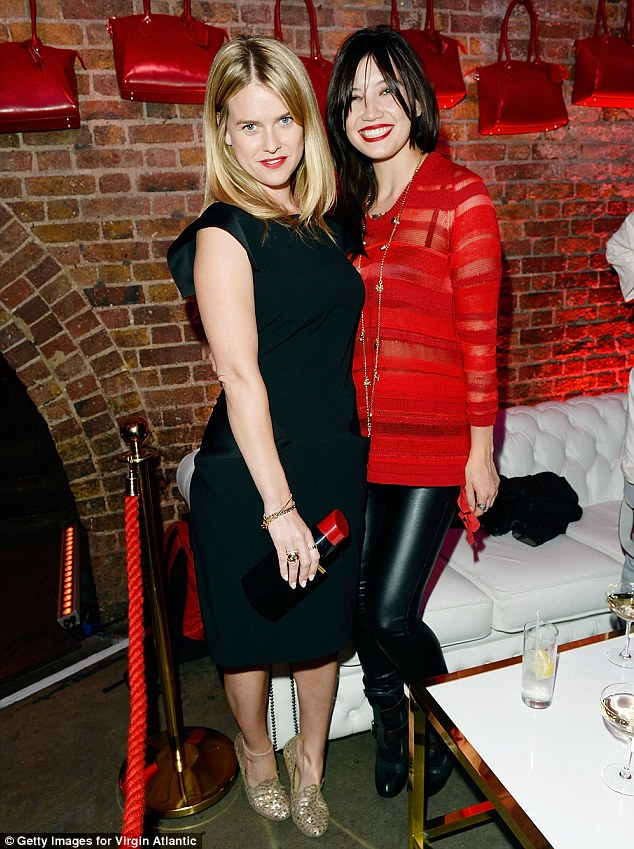 In good company: Daisy wasn¿t short of friends on the night as she was pictured with actress Alice Eve, who looked stunning in a simple black midi dress and metallic gold heels