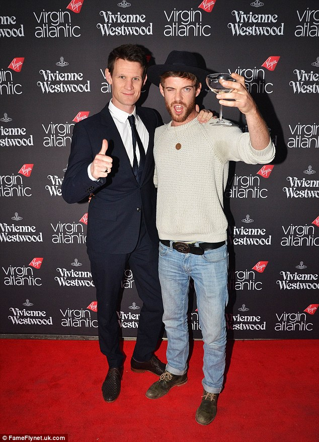 Leading men: Former Doctor Who star Matt Smith and actor Harry Treadaway spotted to raise a glass for the new collection