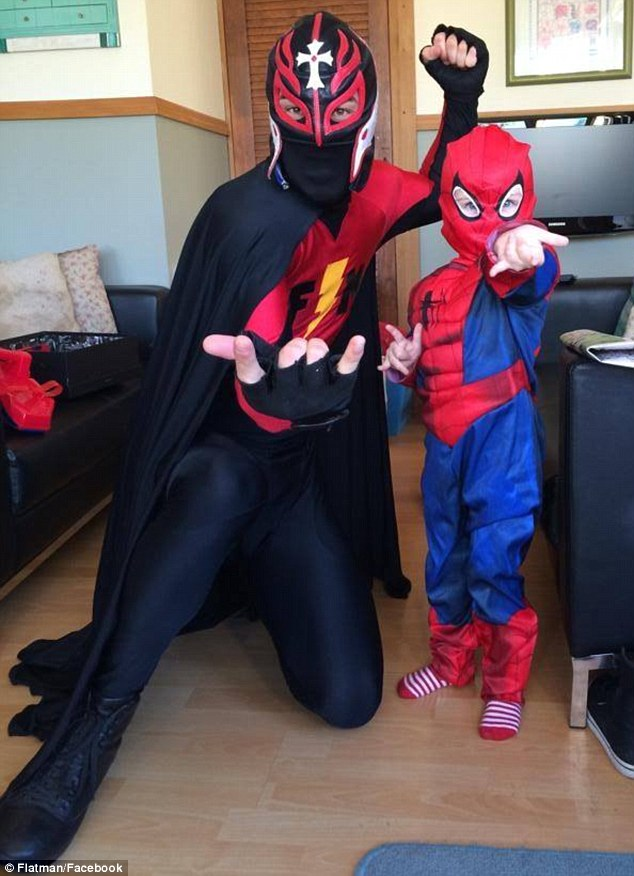 Inspiring kids to be their own superhero is just part of what Flatman does, all while donning a spectacular red and black lycra costume