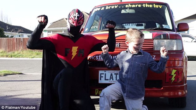 The caped crusader travels to school around the city teaching kids the power of kindness