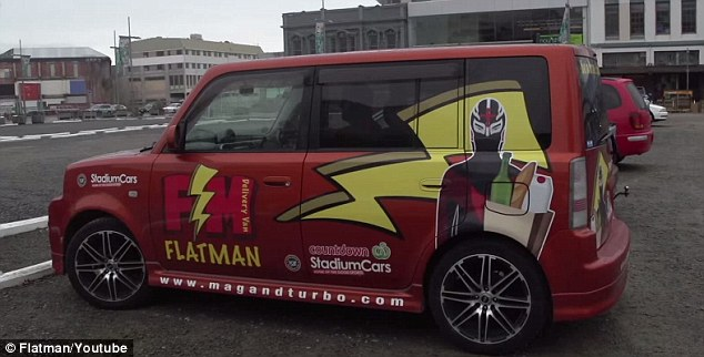 The superhero gets around in his Flat mobile, spreading generosity wherever he goes