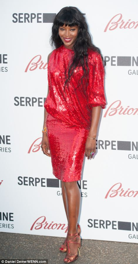 Naomi Campbell was a lady in red in her sequin-covered dress