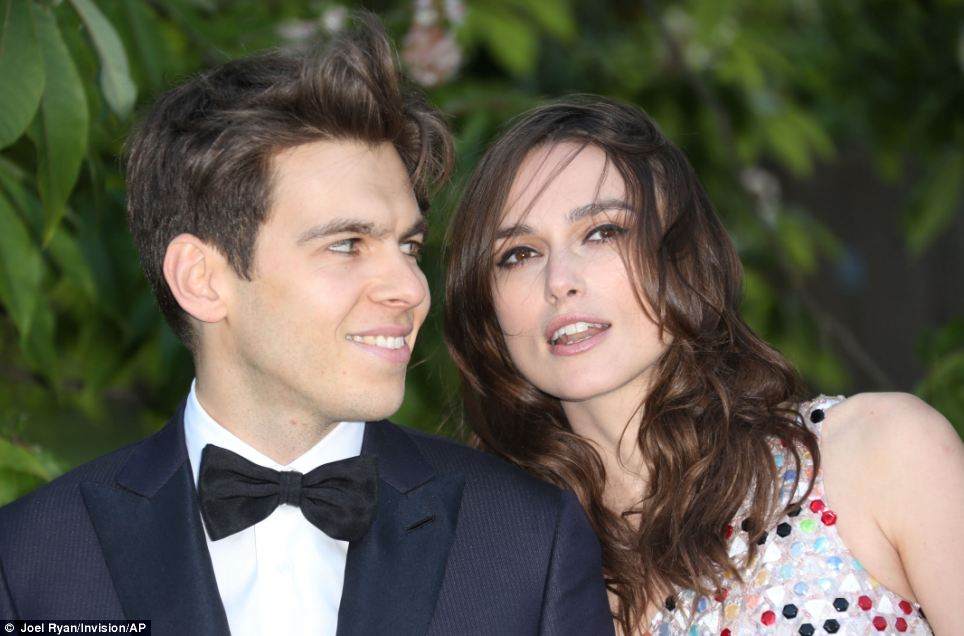 Date night: Actress Keira was joined at the party by her husband of one year, Klaxons singer James Righton - who wore a black bow-tie