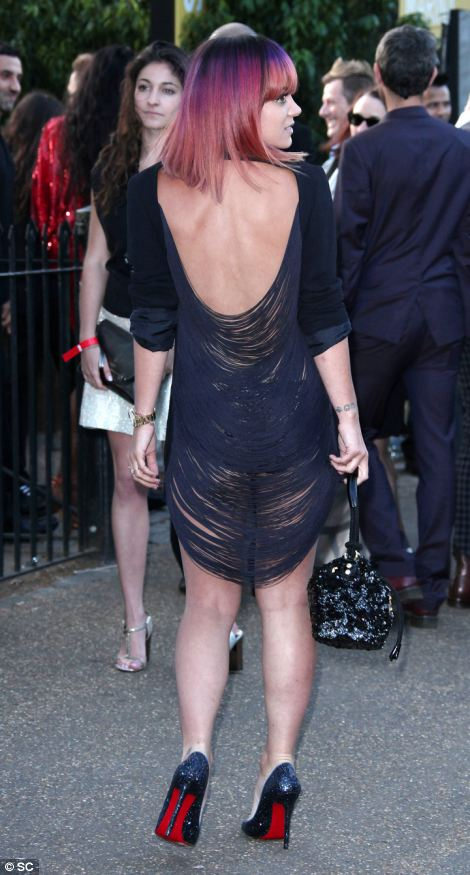 Racy: The back of Lily Allen's dress