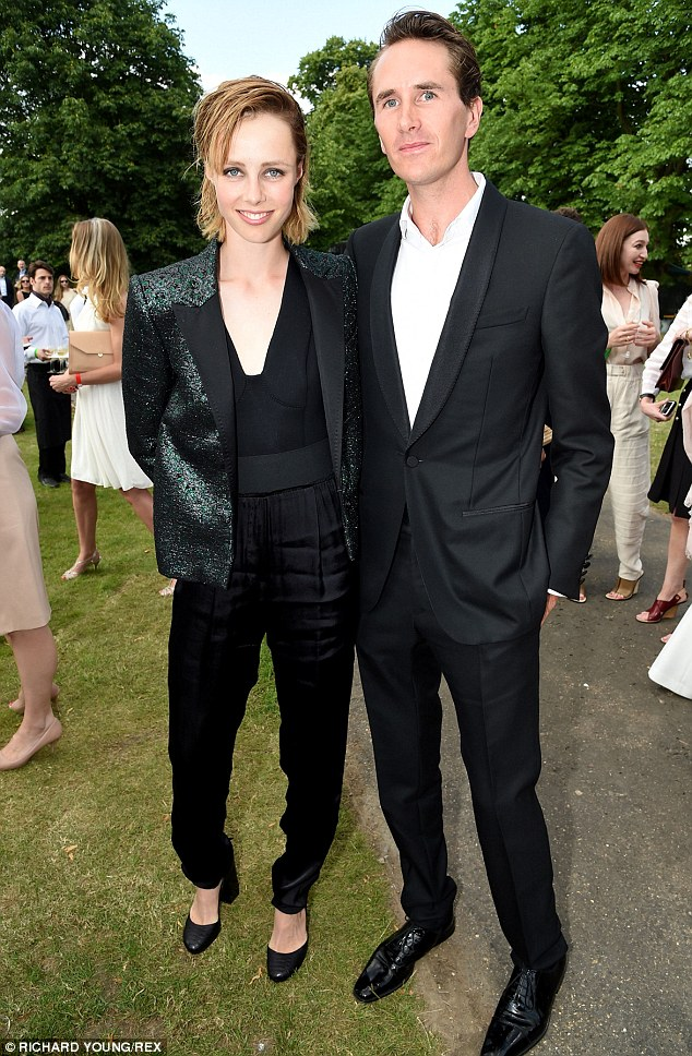 Suits you! Edie Campbell wowed in a black jumpsuit and sparkly jacket as she arrived with Otis Ferry