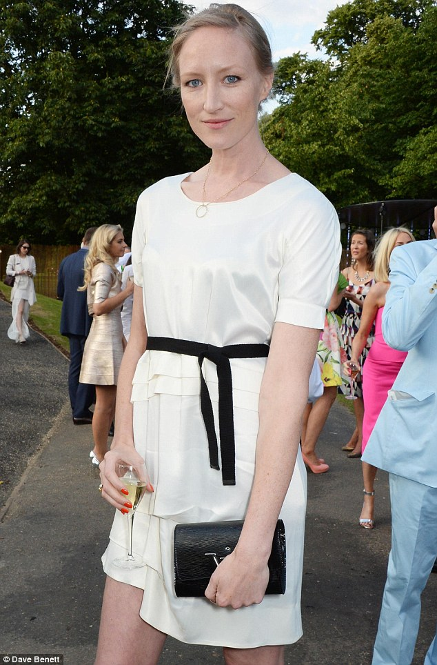 Thigh-skimming: Model Jade Parfitt chose a simple white shift, complete with frilly waist and black tie detail