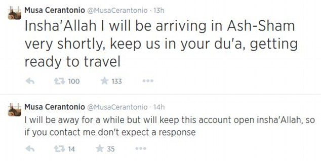 Cerantonio received overwhelming support from his followers on Twitter when he announced his travel plans