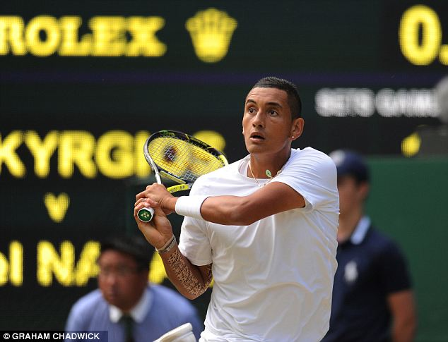 In with a shout: Kyrgios is through to the quarter-finals at SW19