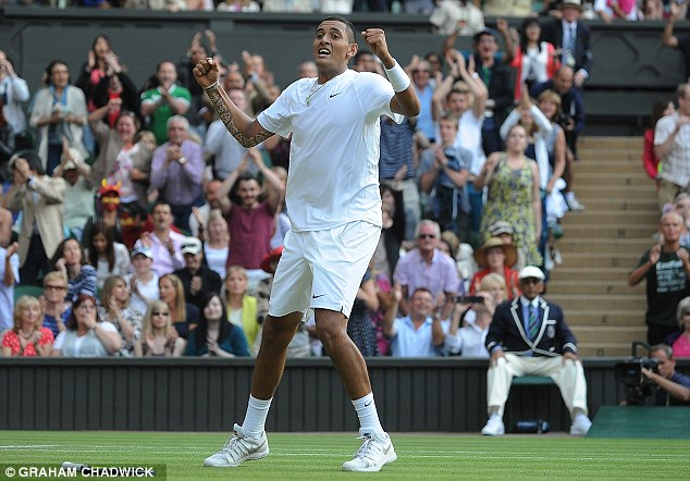 Aussie rules: Kyrgios looks in disbelief as he celebrates his shock win over Nadal