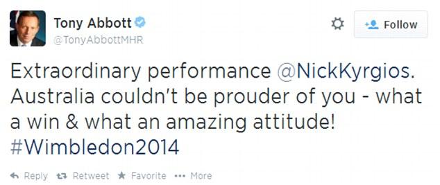National hero: Australian Prime Minister Tony Abbott was also quick to congratulate Kyrgios