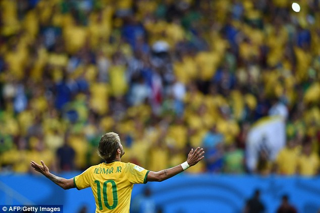 Looking up: Neymar and his Brazil team-mates are targeting winning the World Cup on home soil