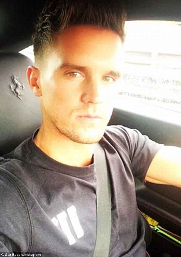 Intimate: Reality star Gary 'Gaz' Beadle, pictured in a 'traffic selfie at the weekend, could be in trouble with the law after reportedly filming himself enjoying oral sex while driving his sports car