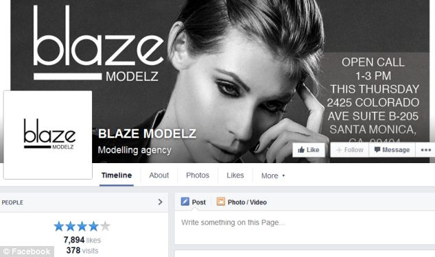 Agency: The 30-year-old was offered the contract by Blaze Modelz (pictured) in Santa Monica, Los Angeles