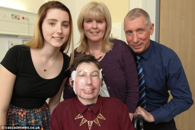 Catrin, pictured with sister Mari, mum Sara and dad Carl, battled back from survival odds of 1,000 to one