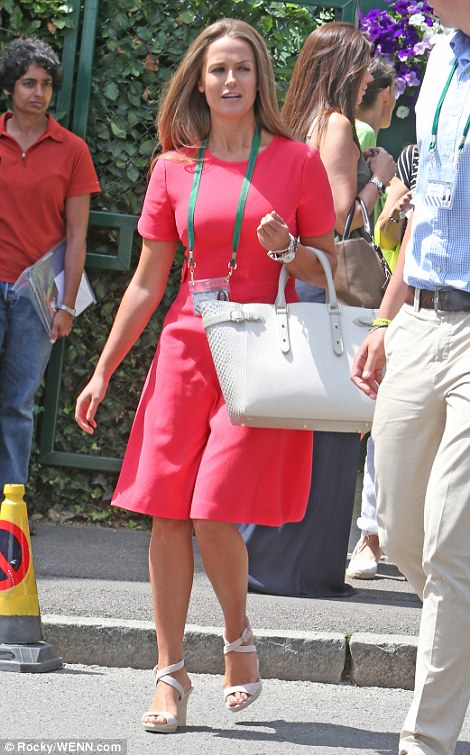 Andy Murray's long-term girlfriend, Kim Sears, 26, chose a fuchsia dress to cheer him on in the quarter finals