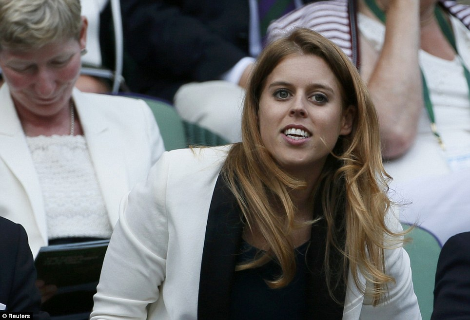 Royal tennis fan: Princess Beatrice, 25, took her seat in the royal box - she was accompanied by her boyfriend of eight years, Dave Clark