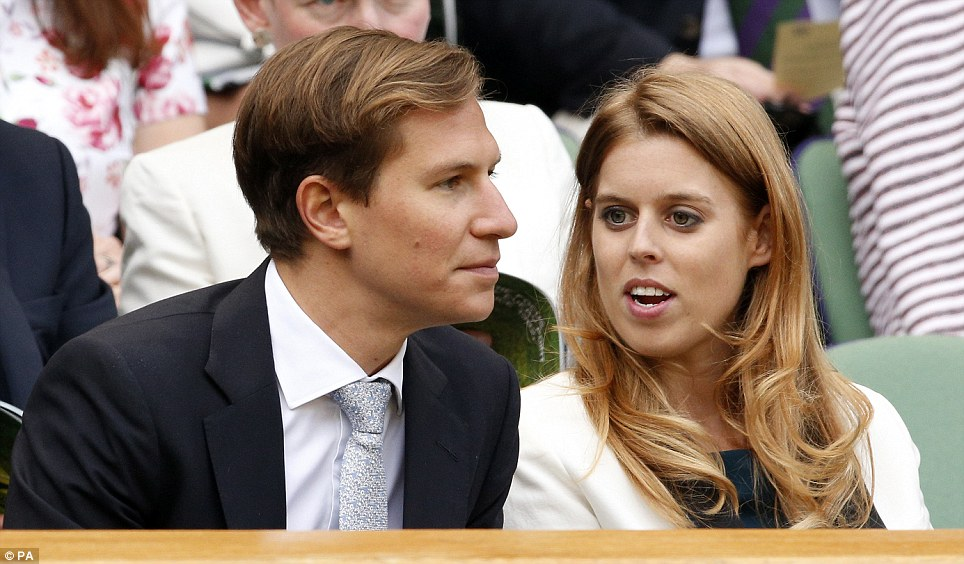 Princess Beatrice and her boyfriend appeared relaxed as they settled down to watch the ladies' quarter final match this afternoon