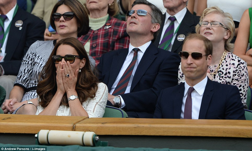 One isn't amused: Prince William looked as angst-ridden as his wife as they watched Murray lose a second set to the Bulgarian