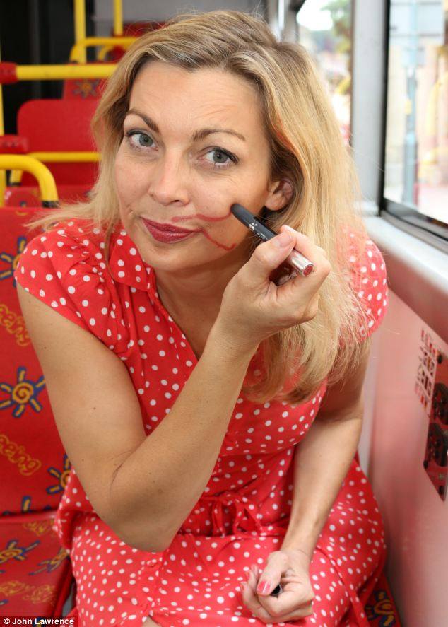 A bumpy ride: Alice tries out the supposedly smudge-proof productions on a 20 minute bus journey