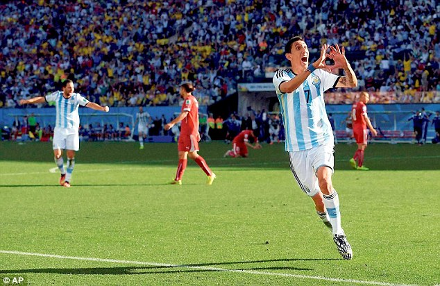 World Cup star: Angel di Maria scored the winning goal for Argentina against Switzerland in extra time