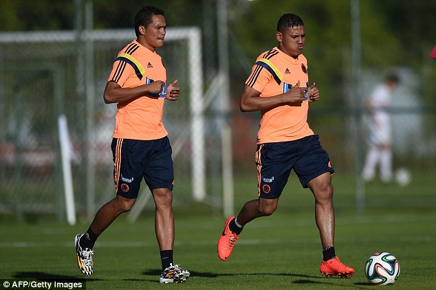 Injury blow: Colombia were hoping to use Carlos Bacca (left) more at the World Cup but for a thigh strain