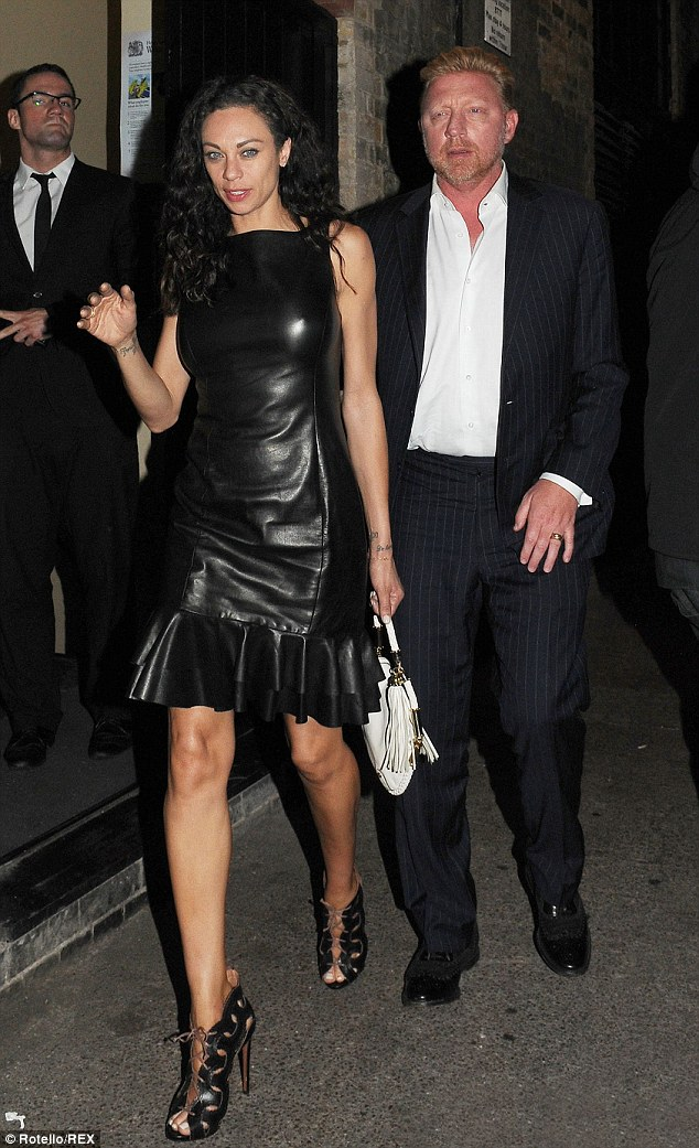 Great match: Tennis legend Boris Becker stepped out with his wife Lilly, who looked stunning in a black leather dress