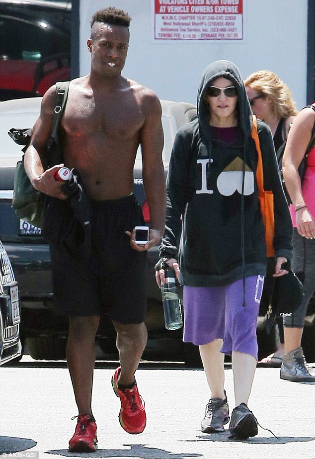Grueling: Madonna endured a double workout on Wednesday, first with a session at Cycle House then a Pilates class in West Hollywood, Los Angeles