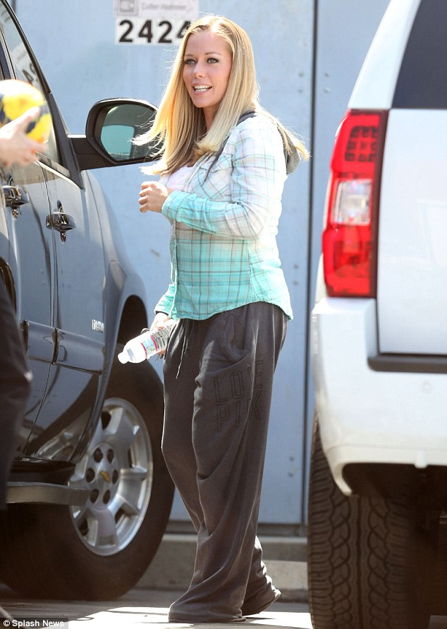Brave face: Kendra Wilkinson spotted in Burbank, California, on Wednesday