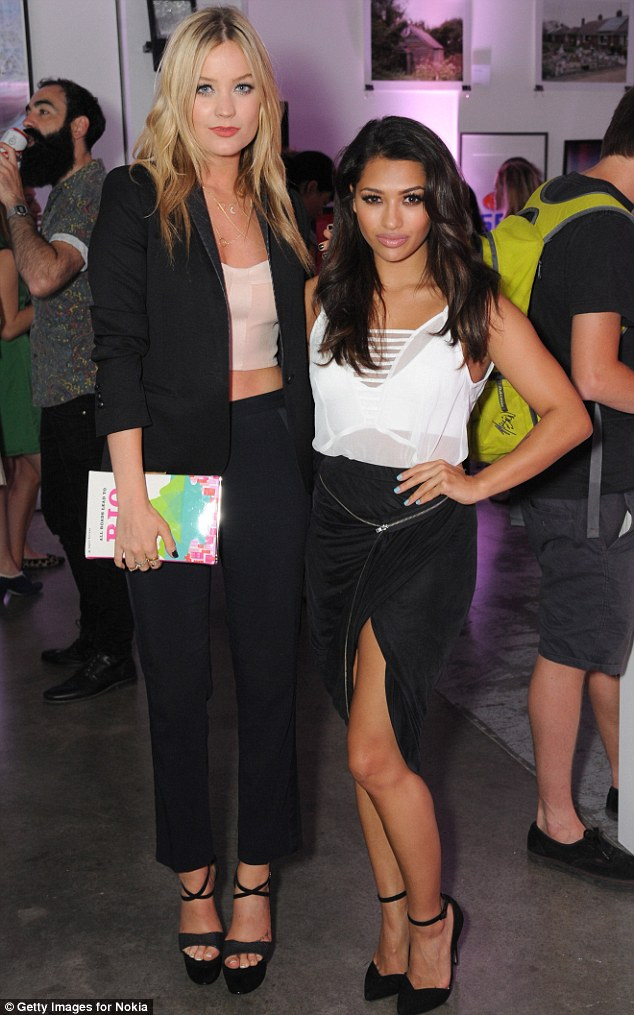 Coordinated cuties: Laura Whitmore and Vanessa White looked stunning as they arrived at Nokia Lumia 630 pop-up store, at London's Old Truman Brewery on Wednesday