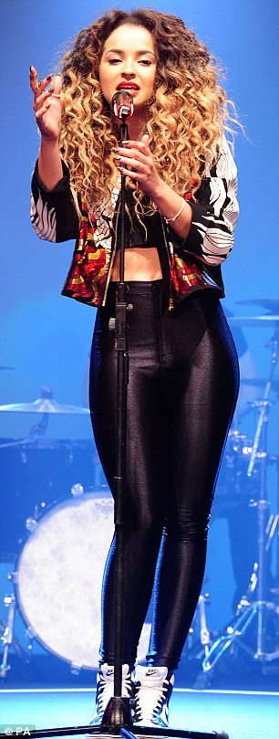 Costume change: Ella changed into disco pants for her performance at the awards