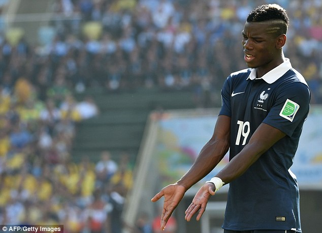 Frustration: Pogba shows his annoyance as France crashed out of the World Cup against Germany