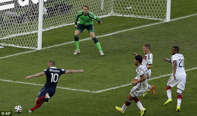 Focus: Neuer prepares himself as Karim Benzema pulls back his left leg to shoot late on in the quarter-final
