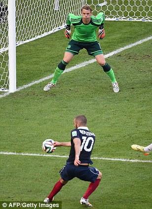 Strike: Benzema hammers his shot at goal