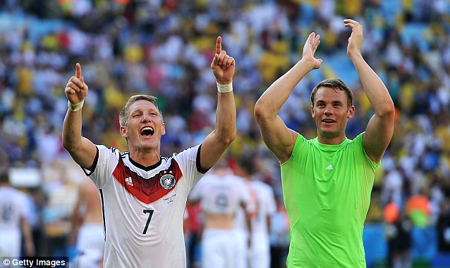 Ecstatic: Neuer and Bastian Schweinsteiger applaud the German fans after sealing a spot in the last four
