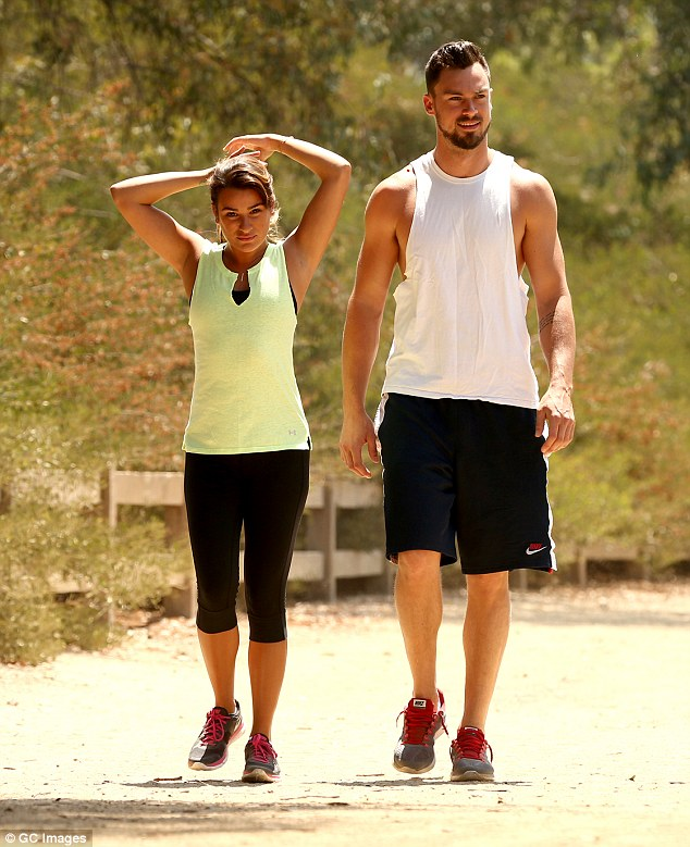 Going public: Lea went for a leisurely hike with new beau Matthew Paetz on June 27