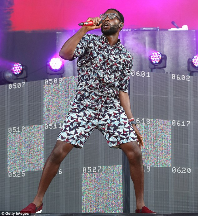 Punky in prints: Tinie Tempah rocked out on stage in Finsbury Park