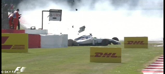 Dramatic: Williams teammate Felipe Massa crashed out in a rather more spectacular way during practice
