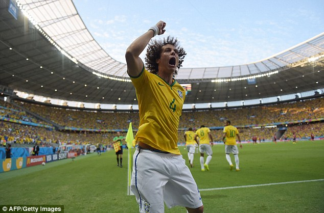 That's better: David Luiz shows Neymar how to celebrate in style - without a slip - in Brazil