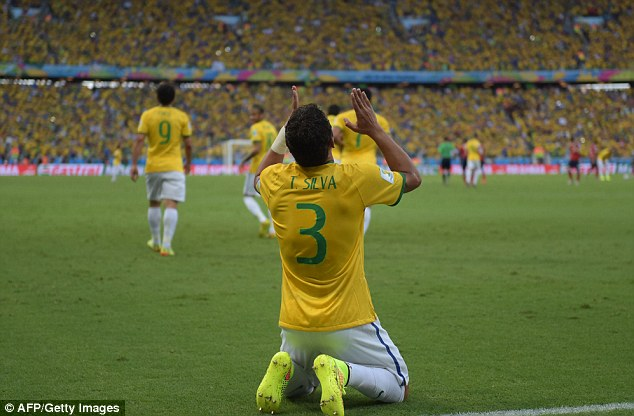 Thankful: Silva's goal gave Brazil the all-important edge in the quarter-final showdown with Colombia