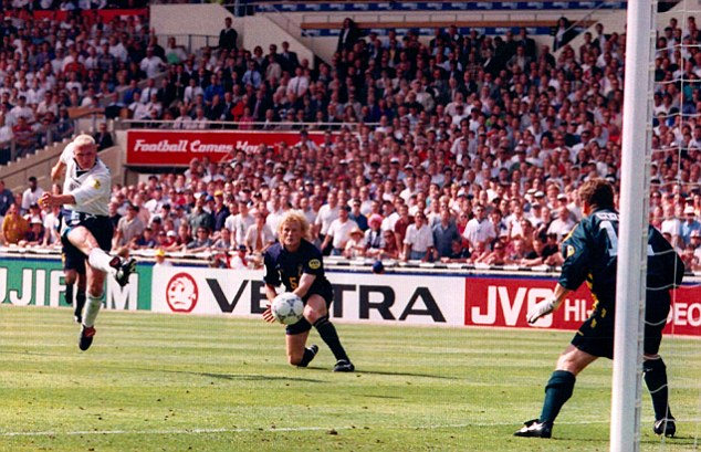 Wonder strike: Gazza scored a stunning goal for England against Scotland at Euro 96