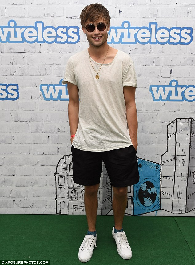 Boys' day out: Actor Douglas Booth opted for a casual look for his day out at the festival