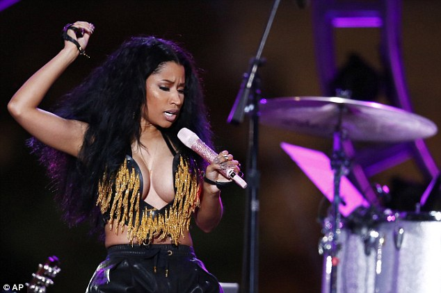 Feeling the beat: The Super Bass singer belted out some tunes