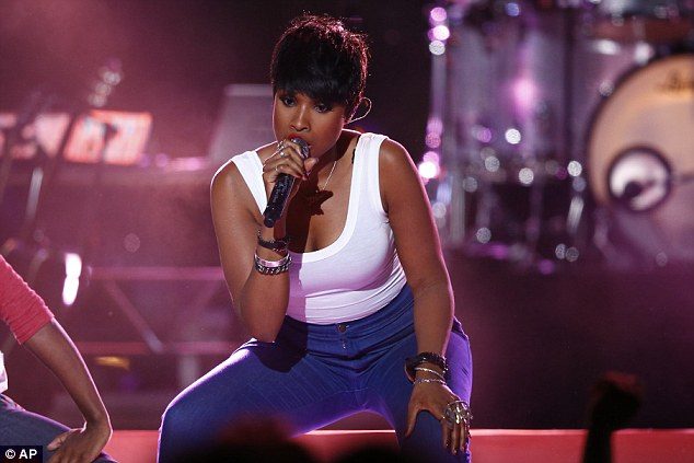 Belting it out: Jennifer Hudson took to the stage