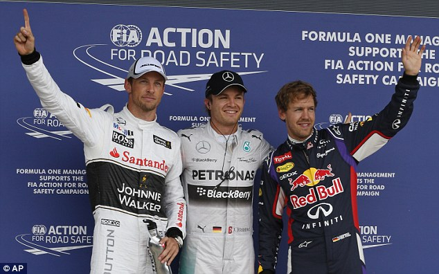 Top three (from left): Jenson Button, Nico Rosberg and Sebastian Vettel will head the field for Sunday's race