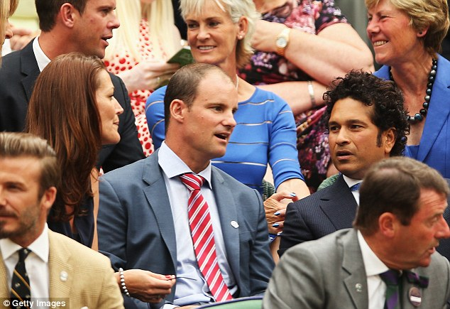 Court in the act: Strauss, pictured with Sachin Tendulkar at Wimbledon, admitted having issues with Pietersen