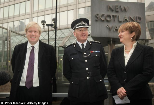 London Mayor Boris Johnson (left) stands with Sir Paul Stephenson, the Metropolitan Police Commissioner, and Home Secretary Jacqui Smith outside New Scotland Yard after Sir Ian Blair stepped down as Commissioner in October 2008 saying that he did not have the support of Mayor Johnson