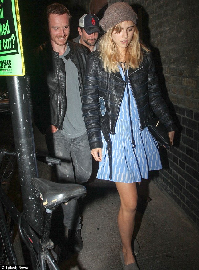 Starry night: Bradley and Suki were joined by Michael Fassbender at London nightspot the Chiltern Firehouse