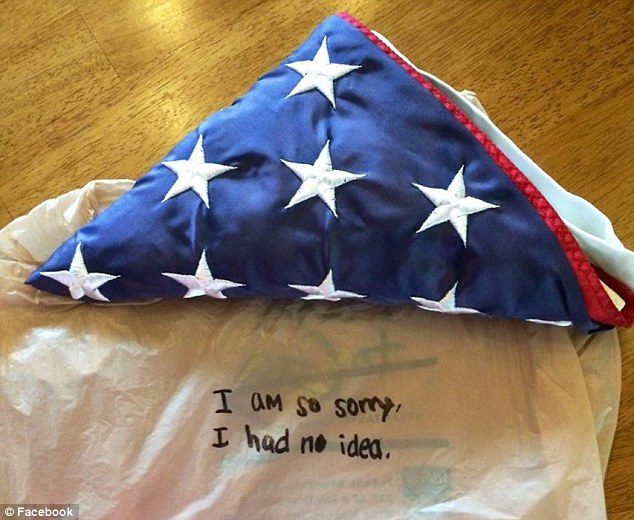 This American flag, which was given to the family of a firefighter who died on September 11, 2001, was returned on late Thursday or early Friday, four days after it was stolen